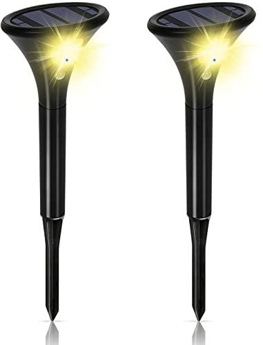 Justn Foco solar con detector de movimiento muy brillante, 2 unidades, 2 modos, IP65 impermeable, interruptor automático automático para patio, camino (amarillo, 2 unidades)