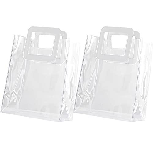 2 Pezzi Sacchetto Regalo Trasparente, Clear Tote Bag Borsa Trasparente in PVC, Sacchetto di Ghiaccio Trasparente con Manico per Champagne Vino, Borsa da Regalo Trasparente per Bouquet di Fiori