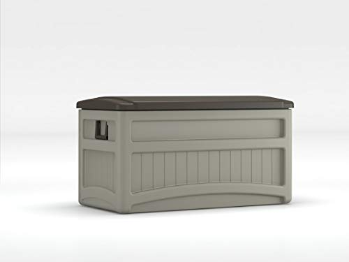 Suncast 73-Gallon Medium Deck Box - Lightweight Resin Indoor/Outdoor Storage Container and Seat for Patio Cushions and Gardening Tools - Store Items on Patio, Garage, Yard - Taupe