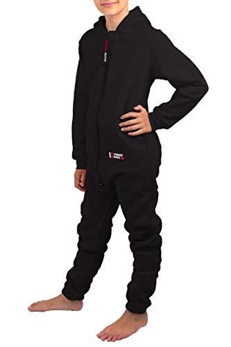 Gennadi Hoppe Kinder Jumpsuit - Jungen, Mädchen Onesie Jogger Einteiler Overall Jogging Anzug Trainingsanzug, schwarz,158-164 - 5