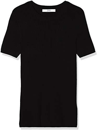 Marca Amazon - find. Jersey con Cuello Redondo Mujer, Negro (Black), 38, Label: S