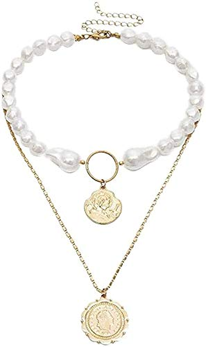 ZHIFUBA Co.,Ltd Necklace Fashion Multilayer Necklace White Imitation Pearl Necklace Korean Personality Carved Queen Pendant Long Chain Necklace Women