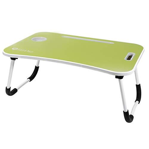 ITaDen Fun Lap Desk for Kids Teens Adults. Laptop Desk with Storage Drawer, Tablet Slots, Cup Holder. Multi-Purpose Bed Lap Table Tray for Eating, Ideal for Student, Homework, Telework- Green