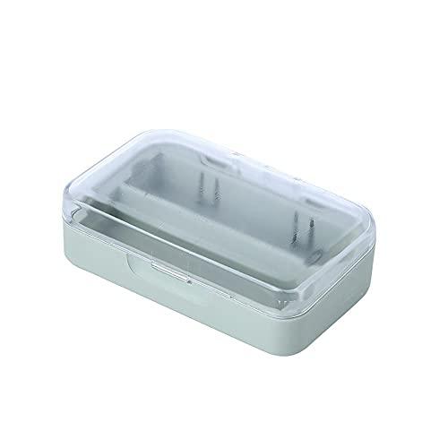 Recet Caja de almacenamiento para pintalabios con espejo, dos compartimentos con tapa de plástico, luz de bajo consumo y pequeña caja de maquillaje portátil