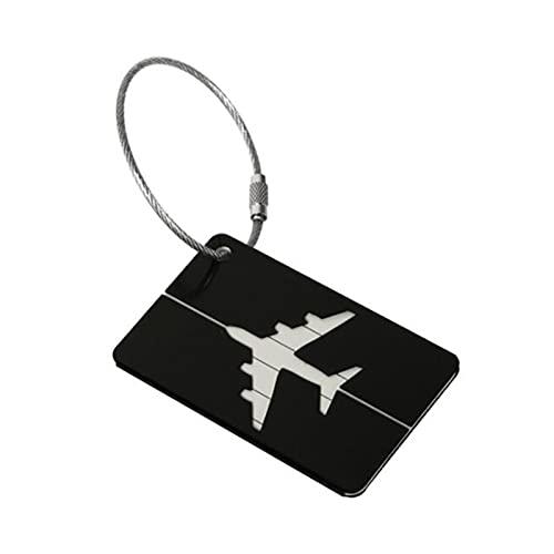 TTCI-RR Etichette Bagagli, Lega di Alluminio Tag Bagagli Tag Bagaglio Tag Valigia Indirizzo Etichetta Holder ID Tag Tag Volo Accessori da Viaggio (Color : Nero)