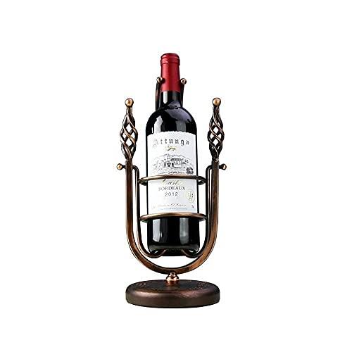 WWKDM1 Estante para vinos montado en la Pared Estante para vinos Estilo Retro Mesa de Metal oscilante Soporte para Botellas de Vino Soporte para Almacenamiento de Vino Independiente Estante Barroco