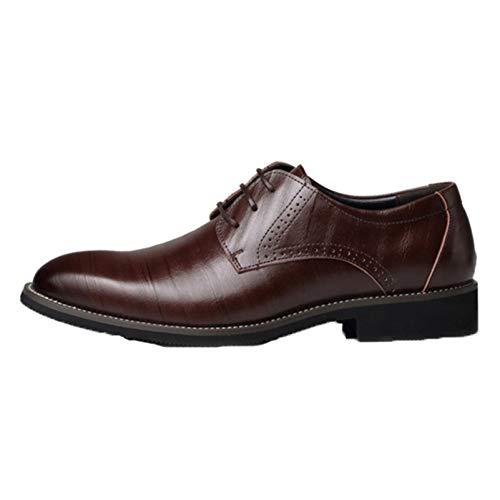 Derbys para Hombre, Resistentes al Desgaste, cómodos, Vintage, con Punta Puntiaguda, Zapatos Formales, Ligeros, Antideslizantes, Casuales, con Cordones, Zapatos de Cuero para Negocios