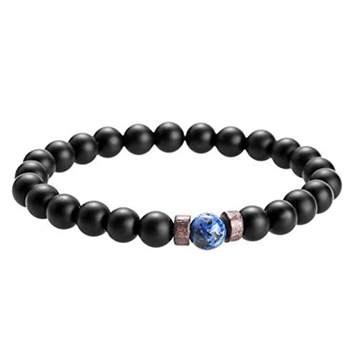 XPT Pulsera para hombre, piedra volcánica, superficie única, joyería de moda, cuerda elástica, cuentas para citas, regalo 1
