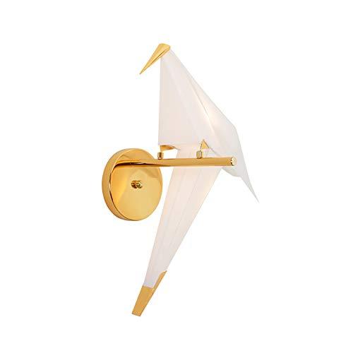 ELYQDDD Bird nórdico diseño LED lámpara de Pared Creativa Origami Grúa de Papel de Pared de luz Loft Dormitorio de Noche Restaurante Pasillo Luces Decorativas Cool White 3