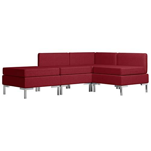 vidaXL Sofagarnitur 4-TLG. Stoffsofa Couch Loungesofa Sofa Polstersofa Couchgarnitur Polstergarnitur Sitzmöbel Ecksofa Mittelsofa Fußhocker Stoff Weinrot