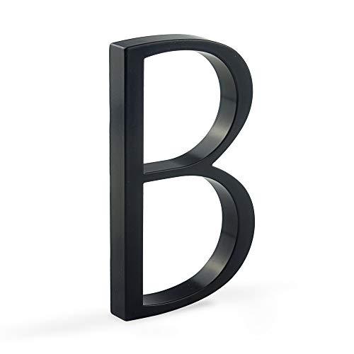 HASWARE Letrero flotante con número de casa, 5 pulgadas,(12 cm) números de puerta modernos, placa de señalización, números de dirección de casa, Metal negro [Número B]