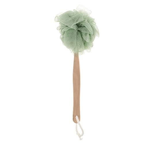 Baoblaze Épurateur Brosse de Maille Exfoliante Bouffée Poignée Longue Soufflet de douche - Vert