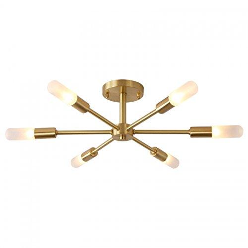 OYI Nordisch Deckenleuchte Kronleuchter 6-Flammig Pendelleuchte G9 Lampenfassung Glas Lampenschirm Metall für Wohnzimmer Schlafzimmer Esszimmer Balkon Restaurant Shop Bar