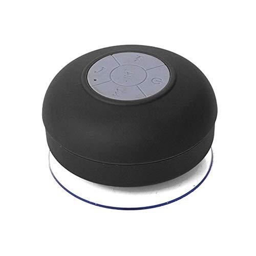 Altavoz inalámbrico Bluetooth estéreo para ducha o baño, impermeable, con ventosa, Negro