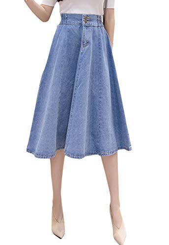 Flygo Women's High Waist Button Front A-Line Flare Midi Long Denim Skirt (Medium, Light Blue)