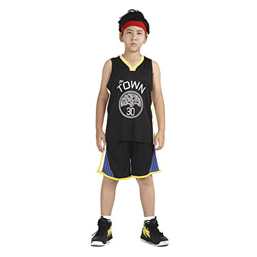 LCHENX-Maglia da basket per ragazzi adolescenti, NBA Golden State Warriors Stephen Curry # 30 canottiera e pantaloncini, nero, S