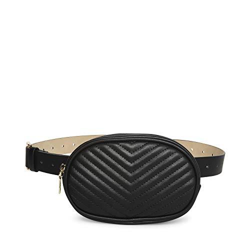 Steve Madden womens Chevron Quilted Bag Belt, Black, Medium US