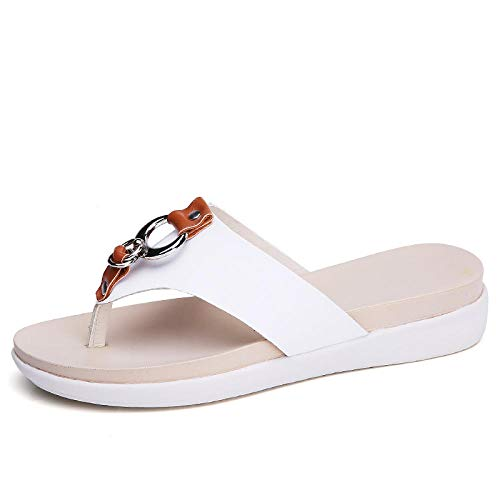 FAYHRH Interior al Aire Libre Verano Sandalias,Zapatillas Casuales Antideslizantes, los Estudiantes Usan Chanclas Fuera de los Zapatos de Playa-White_40