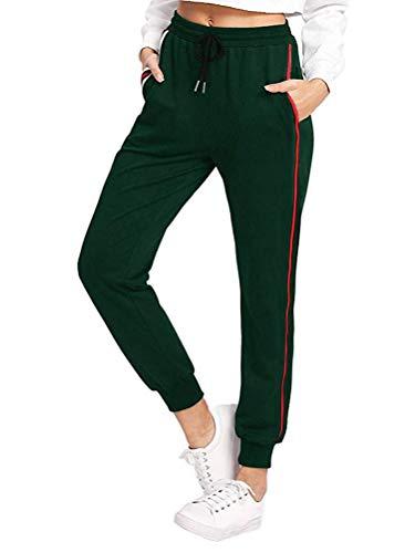ShallGood Damen Hosen Jogginghose Elastischer Bund 3 Gestreift Streifen Freizeithose Tunnelzug Sporthose Casual Sweathose Mit Taschen Grün Medium