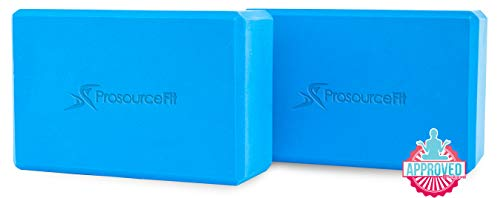 "Prosource Fit Foam Yoga Blocks Set of 2, High Density EVA Yoga Bricks, Sturdy Yoga Prop Large Size 4""x 6"" x 9"" (Blue)"
