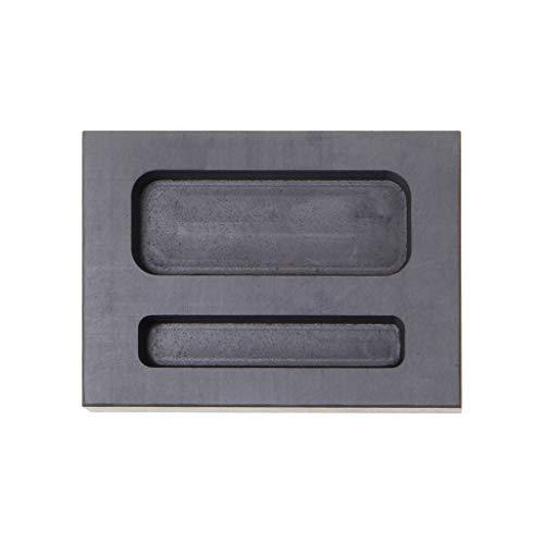 JOYKK Graphit-Schmelztiegel-Gussform, Zwei Löcher, silberner Laib-Stab, Metallschmelzgusswerkzeug - Dunkelgrau