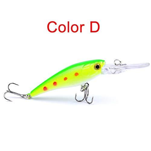 L-MEIQUN, 9cm de Minnow en Plastique Dur appât Lure SUPERBAIT Topmouth Culter appât de pêche (Couleur : Color D)