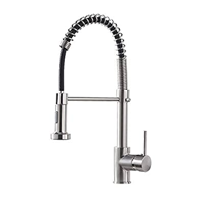 OWOFAN Kitchen Faucet with Pull Down Sprayer Low Lead Single Handle Spring Kitchen Sink Faucet, Brushed Nickel Kitchen Faucet 866081SN