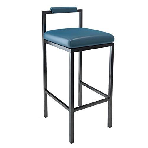 LZCMN Sgabelli da Bar Barra di Metallo Sgabelli Faux Sedile E dello Schienale Semplici Sedie di Design Cucina Camera Mobili (Color : Blue, Size : 75cm(29.5))