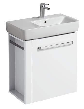 Geberit Meuble sous-lavabo Renova Nr. 1 Comprimo Nouveau, Porte-Serviettes Gauche, 590x604x337mm Blanc Mat/Blanc Brillant Blanc Brillant - 862265000
