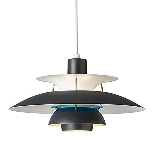 LLLKKK Lámpara colgante creativa, lámpara de techo colgante, ajustable, E27, de aluminio, para Kitchen Island, comedor, restaurante, cafetería, bar, negro, 40 cm