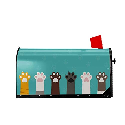 Funny Z Dibujos Animados Lindo Gato Pie Perro Pata Cubiertas Magnéticas para Buzones Bienvenido Buzón Wraps Post Letter Box Cover Garden Home Decor 25.5x21 Pulgadas