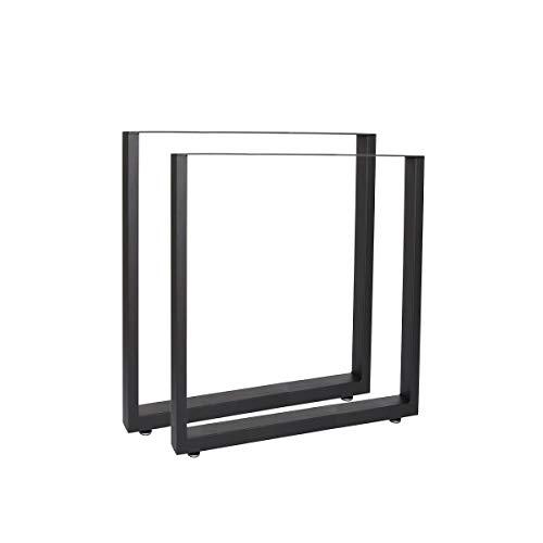 Steelboxx Design Tischkufen Tischgestell Tischbeine 2er Set Stahl Tisch Kufen (60 x 72 x 8cm (BxHxT), Schwarz)