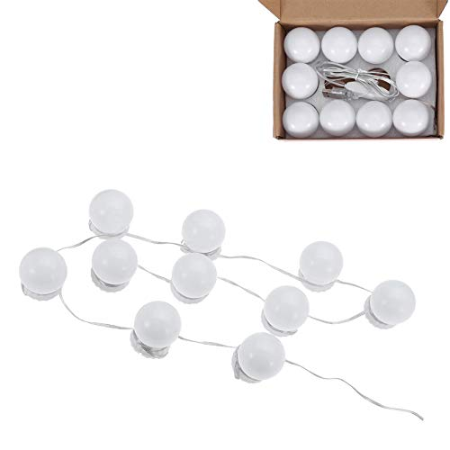 Hollywood Style Led Vanity Mirror Lights Kit with 10 Dimmable Light Bulbs for Makeup Dressing Table and USB Plug in Lighting Fixture Strip, Vanity Mirror Light (No Mirror Included) (White)