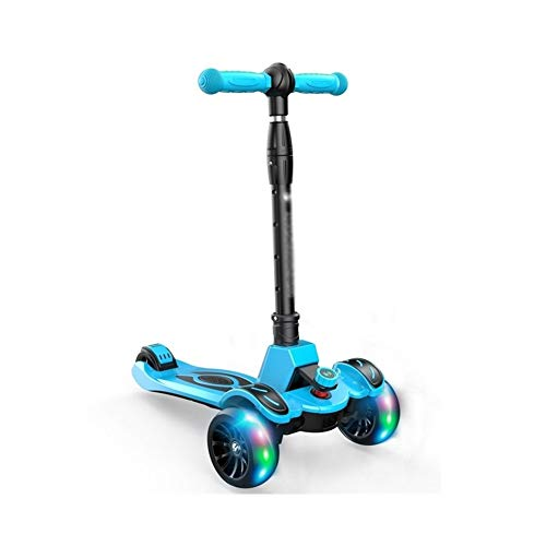 FYZS Kick Scooter Plegable, 3 Ruedas LED Parpadeante Planeador, Altura Ajustable T-Bar 3 Equilibrio del Rotor Riding Kick Scooters, for niños de 3 a 15 años de antigüedad (Color : Style E)