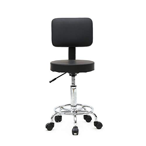 Gimify ronde vorm verstelbare salon kruk met rug zwart