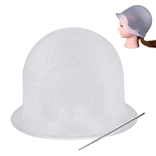 Gorro de gel de silicona para peluquería,Gorro de Silicona Resaltado,Gorras de Tinte para El Cabello con Ganchos Sombrero de Salón Reutilizable de Silicona,para Adultos Mujeres Hombres
