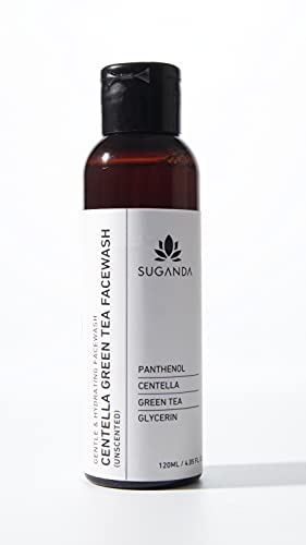 Suganda Centella Unscented Green Tea Facewash, Removes Dirt & Makeup, Leaves Skin Soft Hydrated & Soothed, Keeps Skin's PH Balanced, Infuses Skin with Antioxidant (120ml)