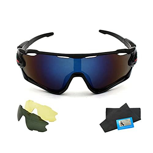 SLKIJDHFB Gafas de sol para ciclismo, deportes al aire libre, gafas de sol polarizadas con 2 lentes, adecuadas para hombres y mujeres al aire libre, correr, ciclismo y pesca (Black Frame Blue Film)