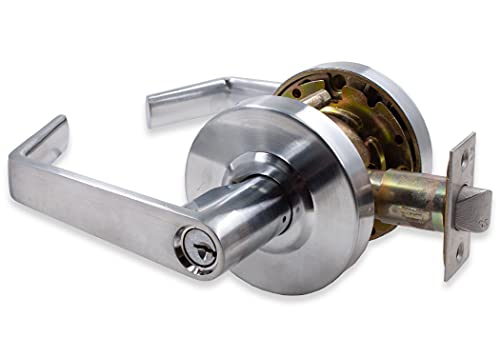 LANITI 상업용 하드웨어 강의실 기능 키가있는 입력 통로 항목 개인 정보 보호 문 잠금 상용 레버 스타일 핸들 솔질 크롬 완료 - ANSI 학년 2 (입구   KEYLOCK)