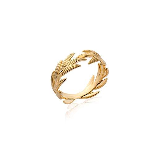 Rendez-vous RueParadis Paris - Anello Largo Maia - Foglie di Alloro - Placcato Oro 18 Carati 3 Micron - Gioiello Donna Prezioso - Saldi Estivi