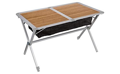 BERGER Campingtisch mit rollbarer Tischplatte, braun, Platte Bambus, Tischfläche 115 x 75 cm