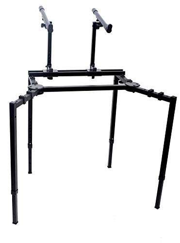 Double Piano Keyboard & Laptop Stand by GRIFFIN | 2 Tier/Dual Portable Studio Mixer Rack for...
