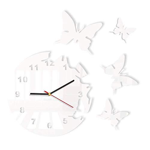 FLEXISTYLE Orologio da Parete Salotto Tondo Moderno Farfalle Bianco Decorativo Silenzioso 30 cm