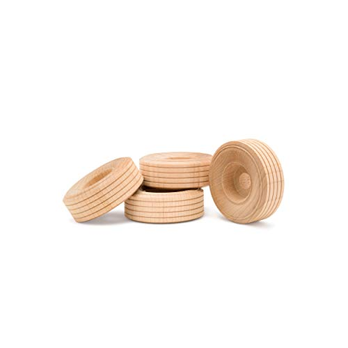 Wood Toy Wheels Treaded Style, 2 Inch Diameter, Pack of 24, for Crafts and DIY Toy Cars, by Woodpeckers