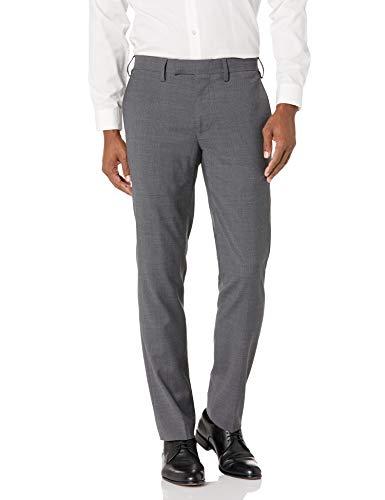 Louis Raphael LUXE Men's Slim Fit Flat Front Stretch Wool Blend Dress Pant, Charcoal, 36W x 34L