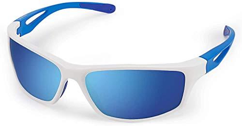 CHEREEKI - Gafas de sol deportivas polarizadas con protección UV400 y marco irrompible TR90, para hombres y mujeres, ciclismo, correr, pesca, golf, correr, correr, correr y correr, color azul y blanco