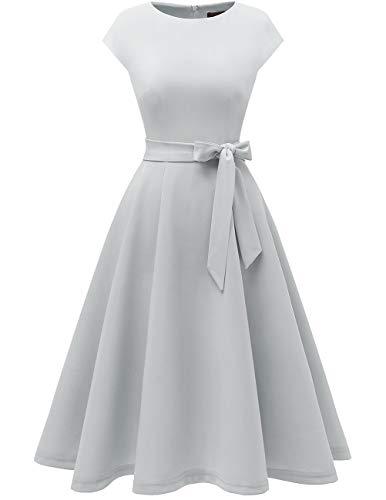 DRESSTELLS Midi 1950er Vintage Retro Rockabilly Kleid Damen Royalblau Vintage Kleid Petticoat Kleid Festliches Cocktailkleid Silver 2XL