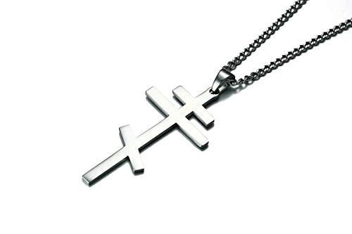 AnazoZ Colgante Hombre,Collar Hombre Acero Inoxidable Cruz Geométrica Collar Plata