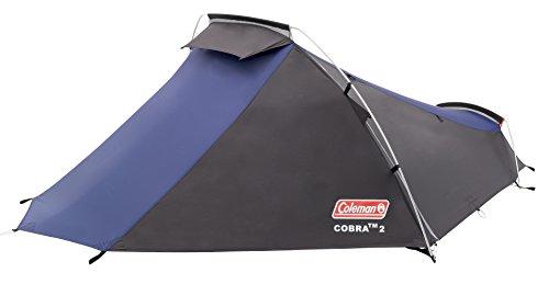 Coleman Cobra 2 Tienda de campaña de 2 plazas para trekking o senderismo, acampadas y festivales, compacta, cabe en una mochila, impermeable hasta 3000mm de columna de agua, Azul, 2 personas