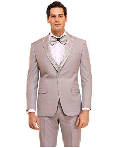 Men's Extra Slim Fit Fashion Tuxedo Formal Suit with Bowtie for Wedding, Prom, Party